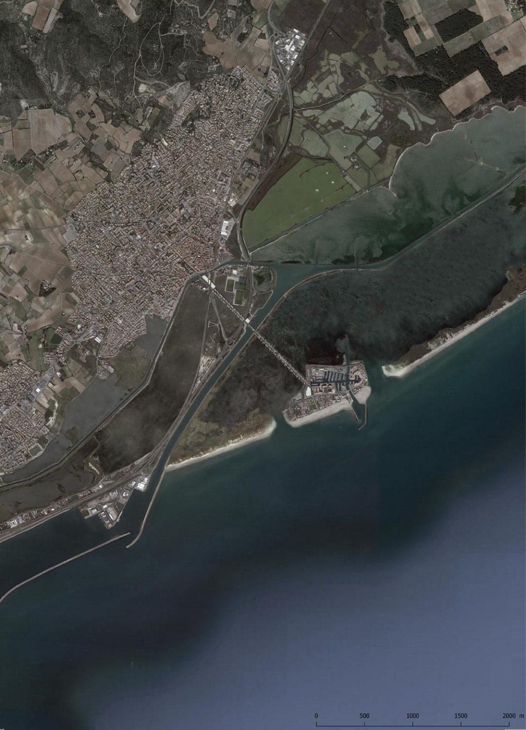 Prospective érosion des plages vue aérienne Frontignan plage