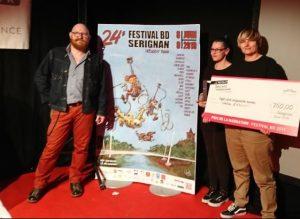 Le président et deux lauréates au Festival de Bande dessinée de Sérignan
